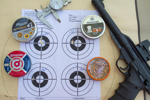We tested the Buck Mark URX with several types of lead and ballistic alloy pellets. It worked just fine with all of them although some displayed slightly better accuracy. The Sig Sauer Match Ballistic Alloy pellets printed the smallest group.
