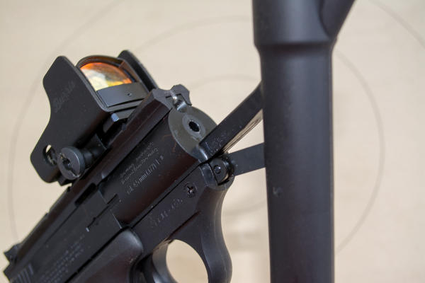 The Umarex Browning Buck Mark URX is a spring-piston design. One cock of the barrel gives you exactly one shot.