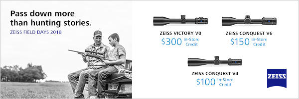 ZEISS 2018 Field Days Promotion - All Models of ZEISS V Series Riflescopes 99a1734f-6373-4511-9381-d89553f74d81_600x200